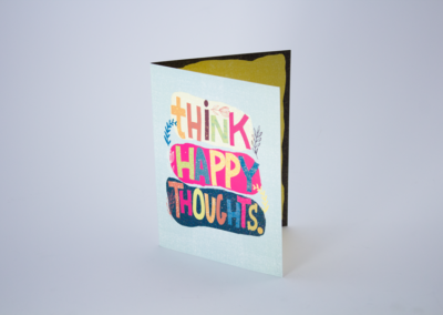 Greeting Card Printing Think Happy Thoughts Glitter